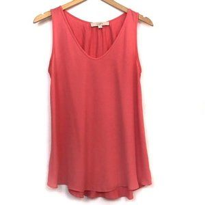 LOFT Mixed Media Tank Solid Coral Red Pink Blouse